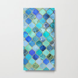 Cobalt Blue, Aqua & Gold Decorative Moroccan Tile Pattern Metal Print