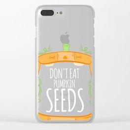 Don't Eat Pumpkin Seeds Pregnancy Announcement Halloween Tee Clear iPhone Case
