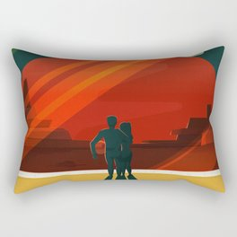SpaceX Travel Poster: Phobos and Deimos, Moons of Mars Rectangular Pillow