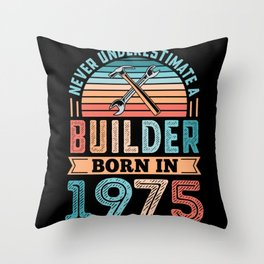 Builder born in 1975 50th Birthday Gift Building Throw Pillow