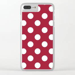Crimson (UA) - purple -  White Polka Dots - Pois Pattern Clear iPhone Case