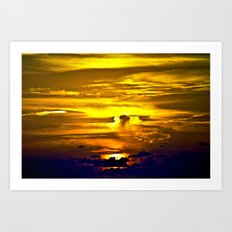 Fire sunset Art Print