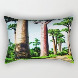 The Disappearing Giant Baobab Trees of Madagascar Landscape Painting Rectangular Pillow