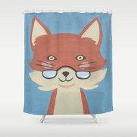 mr fox Shower Curtains featuring Mr. Fox by Kelly Rae Bahr
