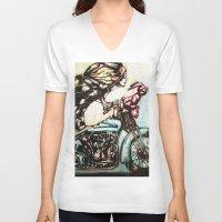 moto V-neck T-shirts featuring Moto D by Mo Baretta