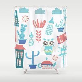 Travel pattern 3vb Shower Curtain