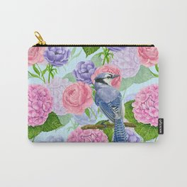 Blue jay and flowers watercolor  Carry-All Pouch