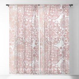 Rose Gold and White Mandala Pattern Sheer Curtain