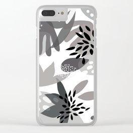 Tropical Minimalist Black & White Clear iPhone Case