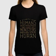 Plenty of Humans Were Monstrous LARGE Womens Fitted Tee Black