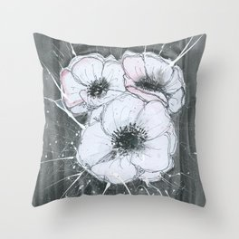 Anemone Flowers illustration gray neutral colors decor Throw Pillow