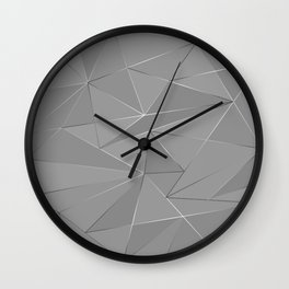 Grey silver low poly background Wall Clock