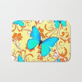 DECORATIVE BLUE BUTTERFLIES YELLOW FLORAL PATTERN Bath Mat