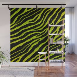 Ripped SpaceTime Stripes - Yellow/Lime Wall Mural