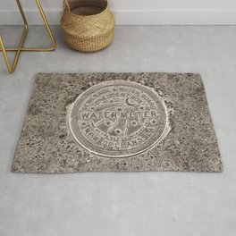 Sepia New Orleans Water Meter Louisiana Crescent City NOLA Water Board Metalwork Rug