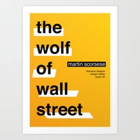 wolf of wall street Art Prints featuring The Wolf of Wall Street by Darrenhealey