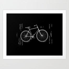Vintage Bicycle Patent Black Art Print