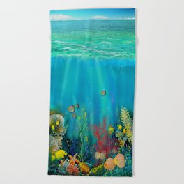 Undersea Art With Coral Beach Towel
