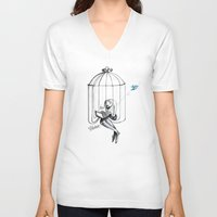 cage V-neck T-shirts featuring Cage by Eyad Shtaiwe