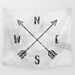 Black and White Wood Grain Compass Wall Tapestry