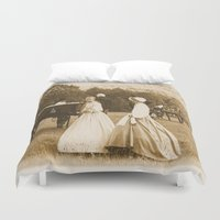 battlefield Duvet Covers featuring Strolling on the Battlefield by Frankie Cat
