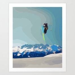 Man on skis, sky jumping, with mountains and blue sky on the backgound Art Print