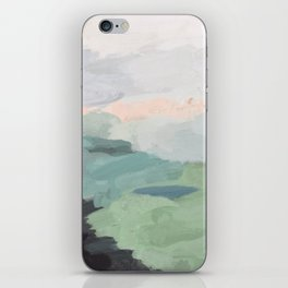 Seafoam Green Mint Black Blush Pink Abstract Nature Land Art Painting iPhone Skin
