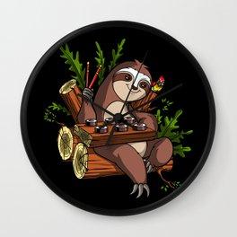Lazy Sloth Sushi Lover Animal Wall Clock