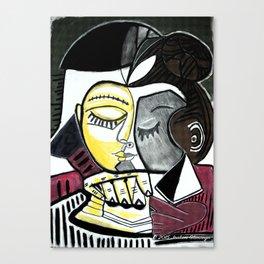 Pommes dans la tete d'une femme lisant Canvas Print