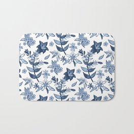 Monochrome Blue Alpine Flora Bath Mat