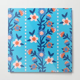 Chintzy Floral Stripe Metal Print