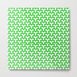 Green Triangles on White Metal Print