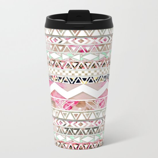 Aztec Spring Time! | Girly Pink White Floral Abstract Aztec Pattern Metal Travel Mug