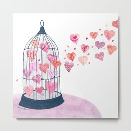 Caged Hearts - Free Love Metal Print