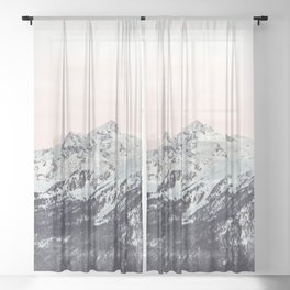 Mountains in Winter Sheer Curtain
