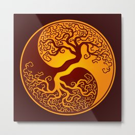 Red and Yellow Tree of Life Yin Yang Metal Print