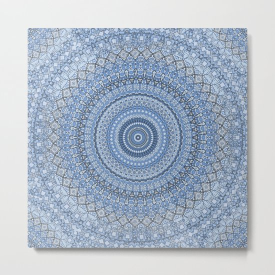 Blue Mandala Meditation Pattern Metal Print
