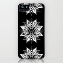 Black and White Flower Mandala iPhone Case