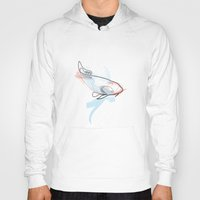 quibe Hoodies featuring One line Koi Fish by quibe