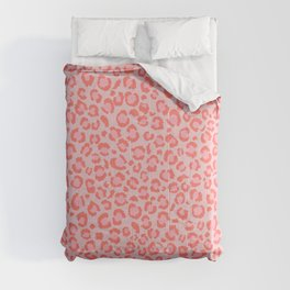 Coral Leopard Print - Living Coral design   Girly Pastel Cheetah Comforters