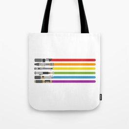 Lightsaber rainbow Tote Bag