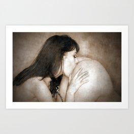 Sensual Wet Kiss Art Print