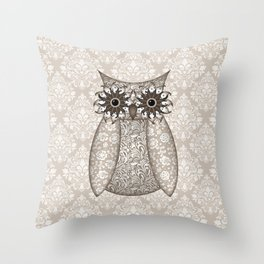 Tan Owl on Damask Throw Pillow