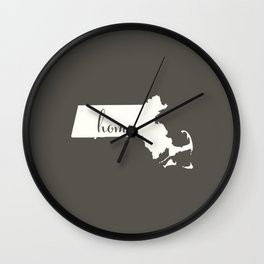 Massachusetts is Home - White on Charcoal Wall Clock