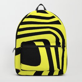 Abstract geometric aboriginal black yellow zebra design pattern of converging curving lines Backpack