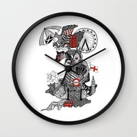 england Wall Clocks featuring England Doodle by Rebecca Bear