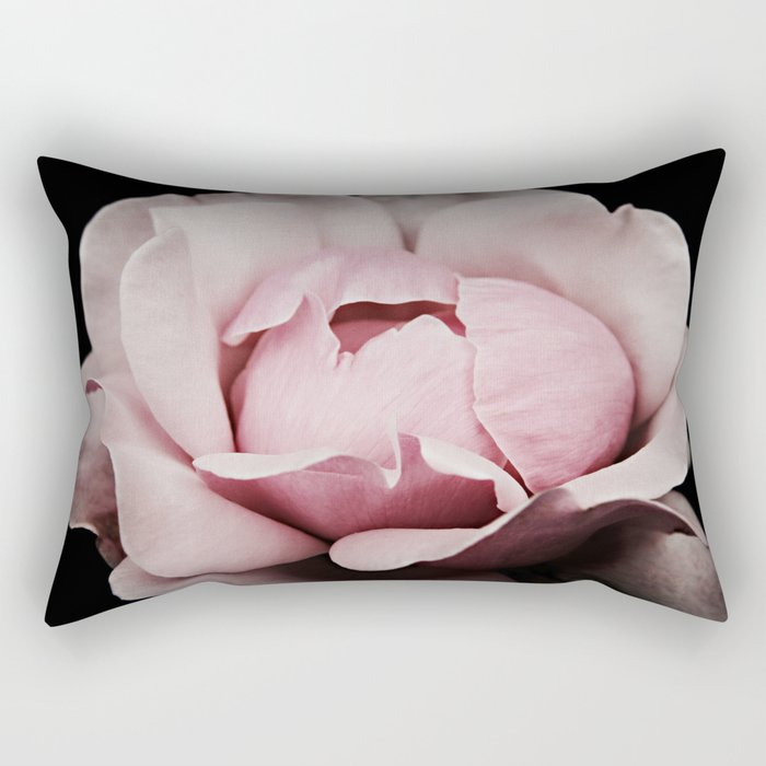 Unfurl Pink Rose Rectangular Pillow