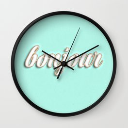 Bonjour typography Wall Clock