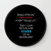motivation Wall Clocks featuring Motivation by Sabreen Aziz