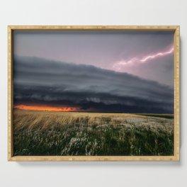 Steamroller - Storm Spans the Kansas Horizon Serving Tray